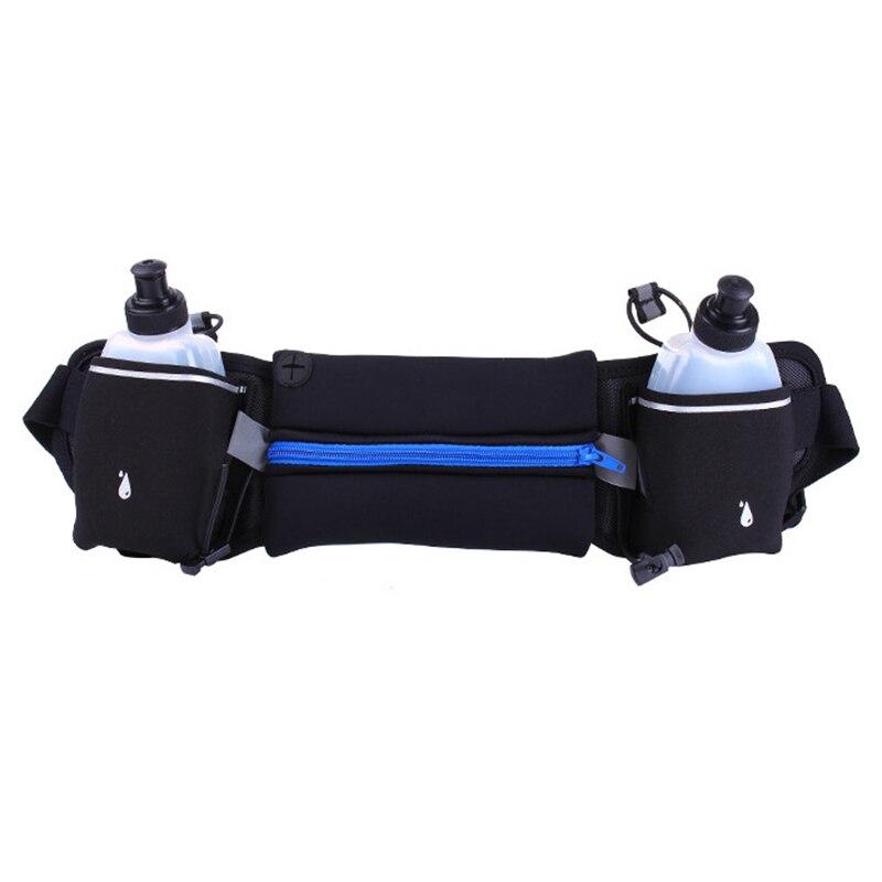 Cinturón para correr, bolsillos con cremallera bolsa de cintura resistente al agua, con botella de agua (2 botellas incluidas) paquete de cintura para correr senderismo Cycli