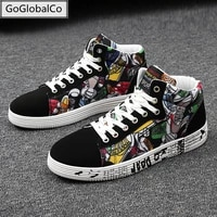 four seasons fashion canvas couple graffiti lace up high style sneakers with camouflage male flats casual shoes men original