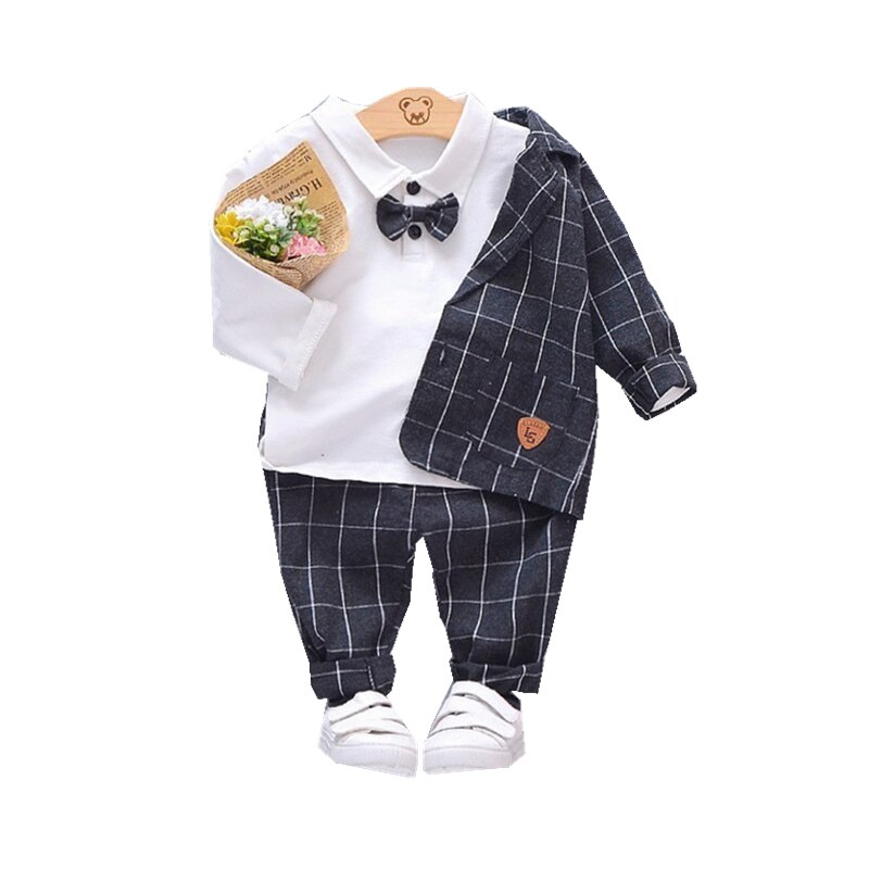 2018 new spring children girls clothing sets mouse early autumn clothes bow tops t shirt leggings pants baby kids 2 pcs suit New Spring Autumn Children Gentleman Clothes Kids Boys Cotton Suit T-Shirt Pants 3Pcs/sets Baby Formal Clothing Infant Tracksuit
