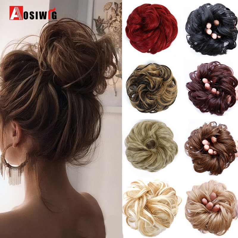 AOSI WIG Synthetic Hair Chignons Elastic Scrunchie Hair Extensions Ribbon Ponytail Hair Clip Bundles Hairpieces Donut Buns