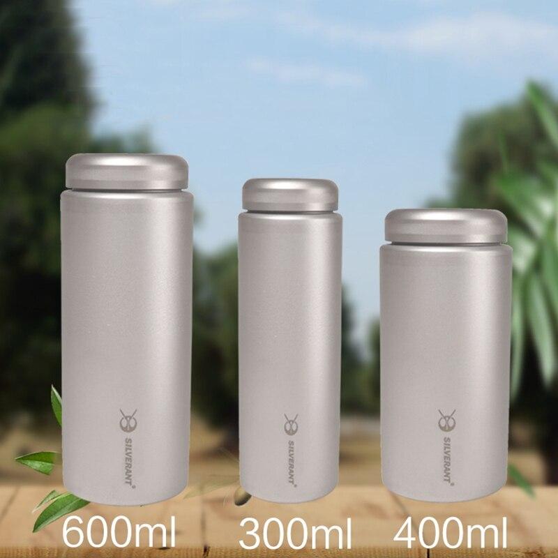 EDC botella de té de café de titanio portátil, equipo de viaje para acampar al aire libre EDC herramientas 300ml y 400ml y 600ml