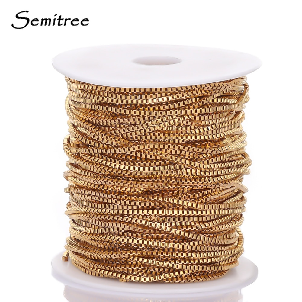 Semitree 2 Meters Stainless Steel Gold Box Chain Necklace for DIY Jewelry Making Findings Handmade Crafts Bracelet Bulk Supplies