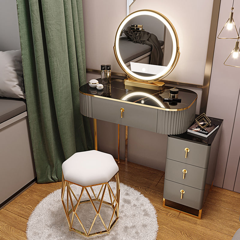Light Luxury Dressing Table Bedroom Small Apartment Modern Storage Cabinet Integrated Household Furniture Makeup Table Set multifunction flip lid dresser nordic storage cabinet girl lady bedroom furniture modern small dressing table desk