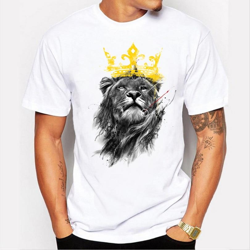 2018 summer fashion 3d print men s short sleeve t shirt 2021 Hot Men Tops Summer Crown Lion 3D White Men's T-Shirt Fashion Animal Print T-Shirt Men Casual Short-Sleeve Tee Shirt Homme
