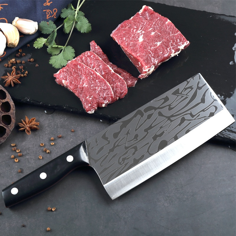 Kitchen Knife Chinese Chef Knife 8 Inch Cleaver W6Mo5Cr4V2 M2 High-speed Stainless Steel Meat Slicing Knife