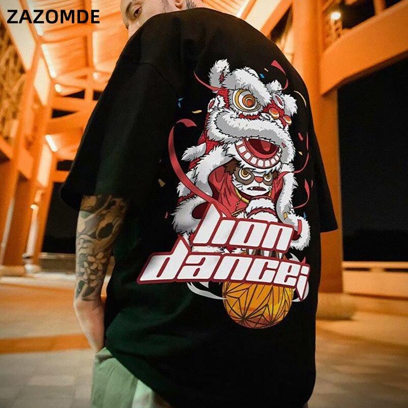 ZAZOMDE, camiseta de algodón con estampado de León para baile, marca Hip Hop, Tide, camiseta de manga corta de estilo chino para hombre, top informal de moda urbana para verano