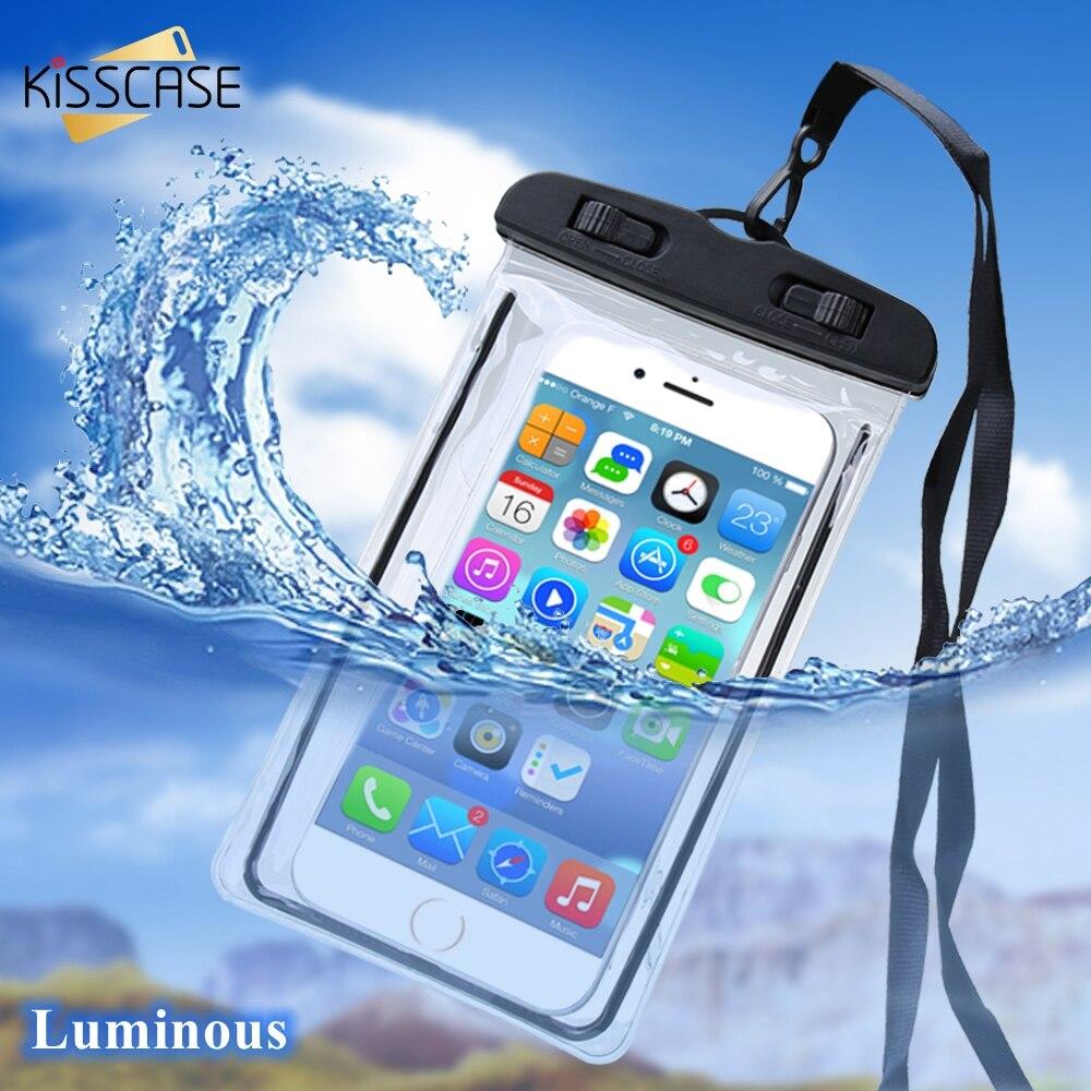 Kisscase caso de telefone à prova dwaterproof água para iphone 11pro 8 7 subaquática fotografia telefone bolsa casos para samsung s9 s8 capas à prova dwaterproof água