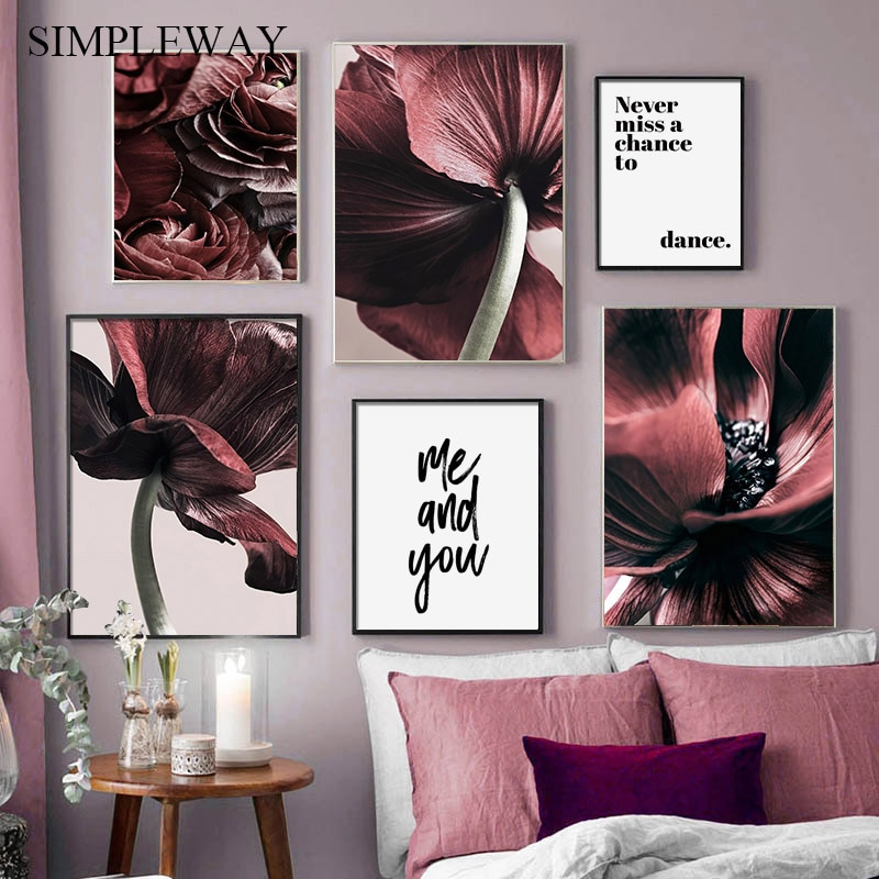 Lienzo de planta de flor roja escandinava pintura botánica Floral cartel nórdico impresión arte de pared imagen moderna decoración para sala de estar