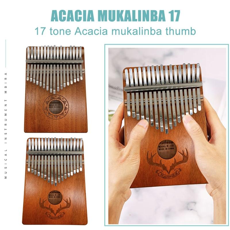 Kalimba 17 Keys Piano Beautifully Musical Instruments Wood Mahogany Thumb Piano Portable Made By Single Board High-Quality enlarge