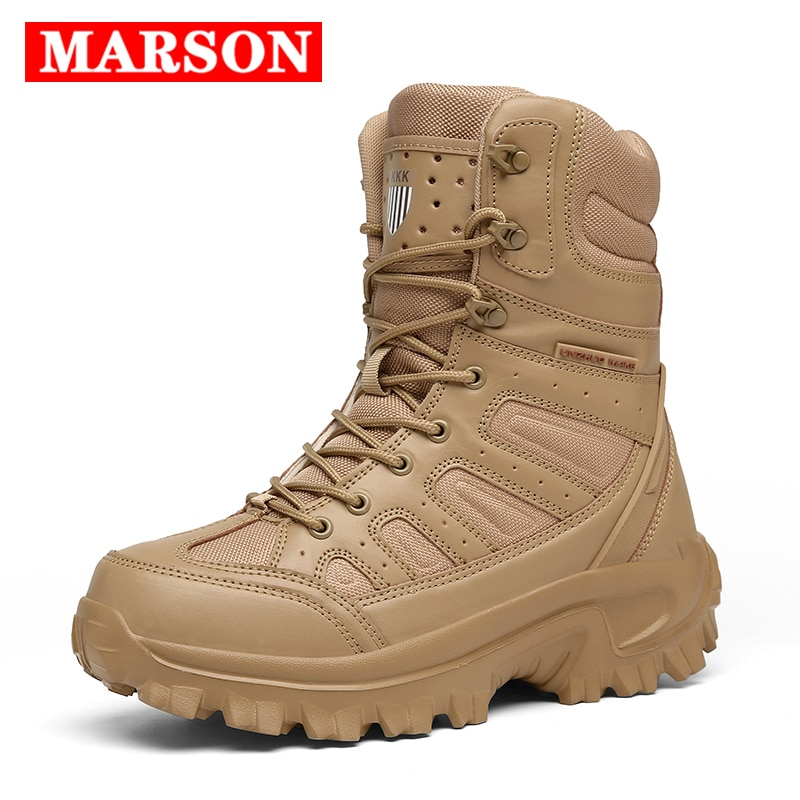 2020 New Men Military Tactical Boots Special Force Leather Waterproof Desert Combat Ankle Boot Army Work Men's Shoes Plus Size jzb high quality men military boots special force tactical desert combat ankle botas army work safety shoes leather snow boots