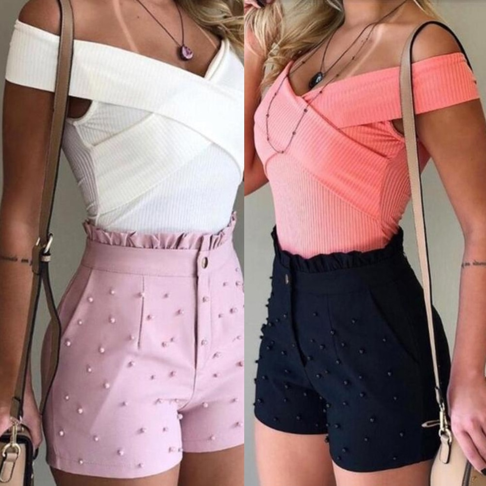 2021New Fashion Solid Color High Waist Button Ruffled Beaded Summer Women Shorts