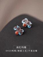 antique blue firing process of enamel earrings s925 pure tremella nail female temperament cloisonne