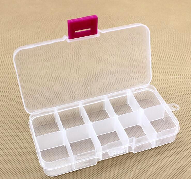 10 cuadrícula/equipo de pesca cebo transparente caja cuadrada de almacenamiento pesca rod12cm * 6cm * 2,3 cm gancho Artificial carnada caja señuelo
