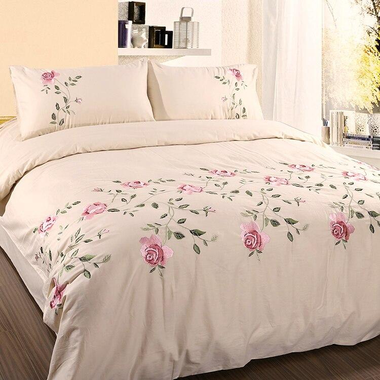 Hojas florales bordadas blanco gris Chic funda de edredón juego de sábanas de alta gama 100% de algodón suave juego de cama Queen King size 4/6 Uds