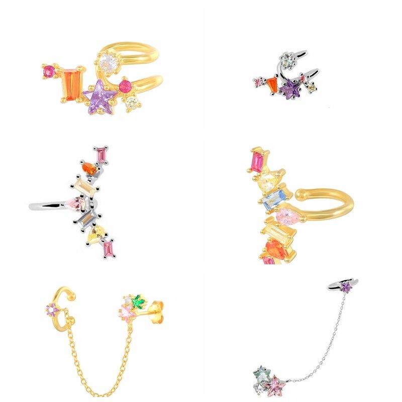CANNER 925 Sterling Silver Earrings Color Diamond S925 Ear Clip for Unpierced Ears rings For Women Girls Single Pendientes Mujer