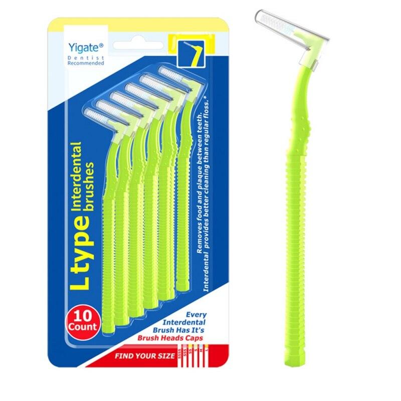 10 pçs l em forma de escova interdental dentária dents interdental cleaners ortodôntico dental dentes escova palito saúde oral