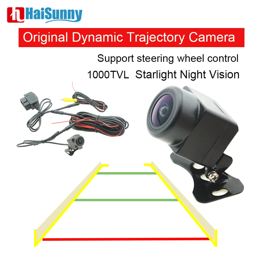 Promo Full HD Car Rear View Camera Dynamic Trajectory Track 1000TVL With OBD For Steering Wheel Control Reverse Camera Night Vision