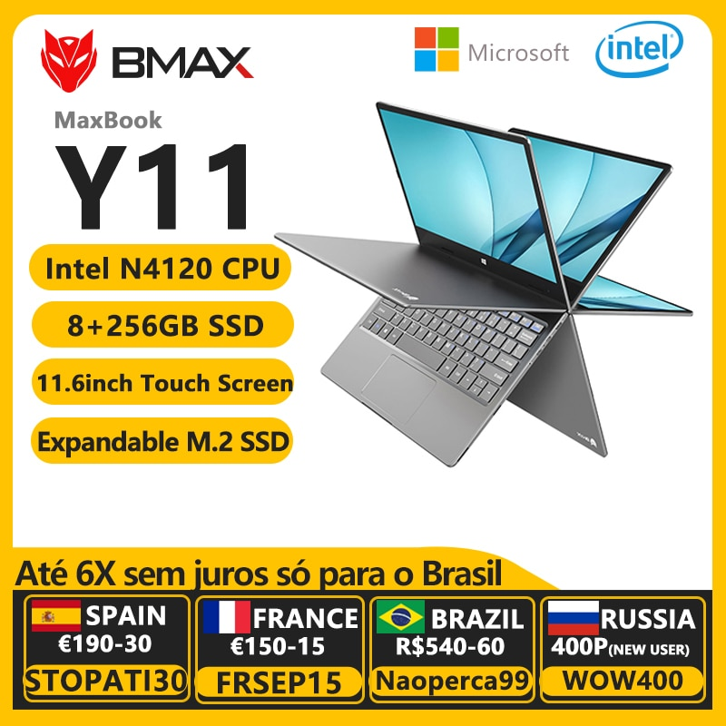 BMAX Y11 360° Laptop 11.6 Inch Quad Core Intel N4120 N4100 1920*1080 IPS TouchScreen 8GB LPDDR4 RAM 256GB SSD Notebook Windows10