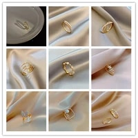 2021 latest style gold chain rings for women fashion girls punk geometric simple finger rings trend jewelry girls party wedding