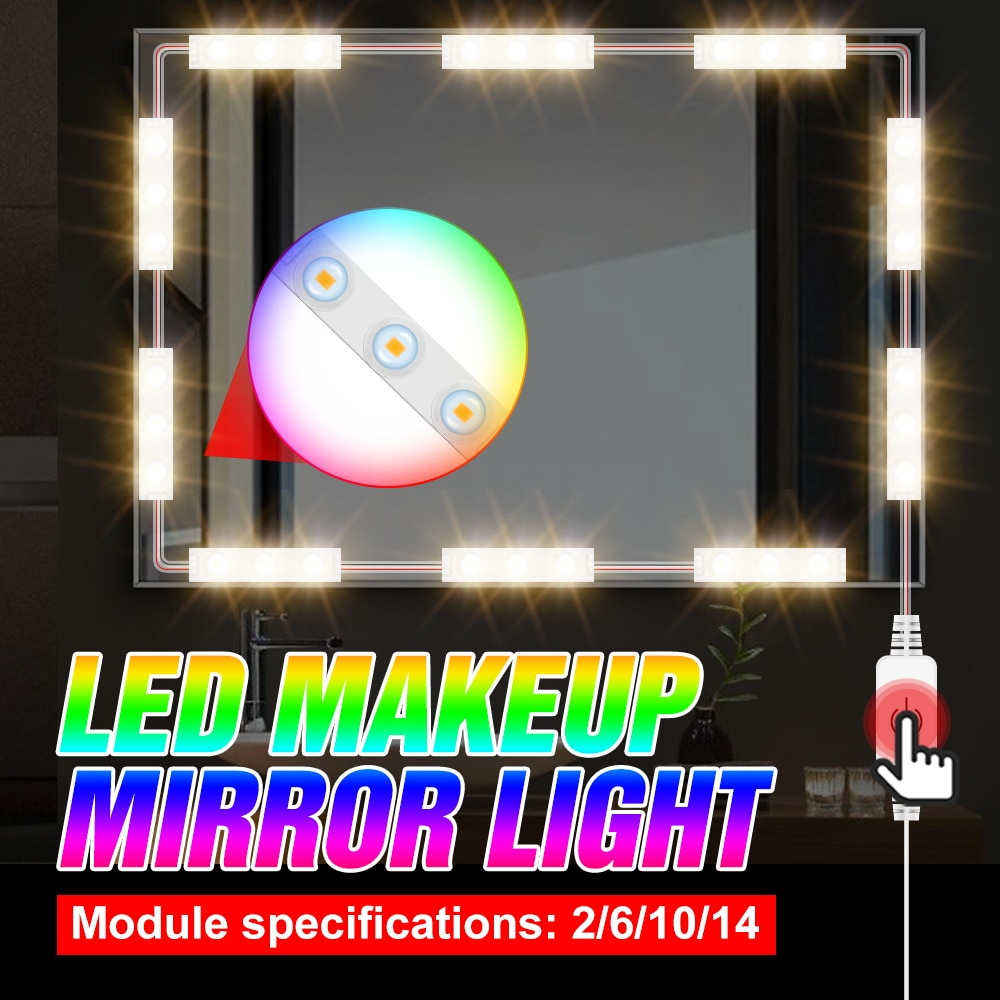5V Dressing Table Makeup Mirror Lamp USB Adjustable Brightness Cosmetic Light LED Kit 2 6 10 14 Modules Decoration Wall Mirror