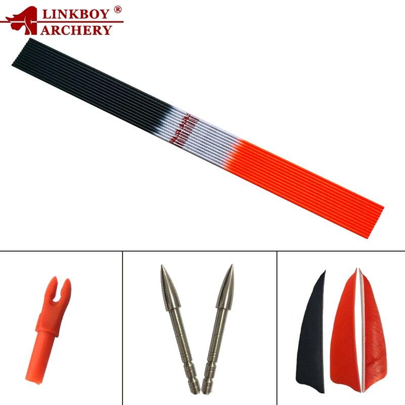 12 Uds Linkboy tiro con arco ID4.2mm eje de flecha de carbono 30 pulgadas SP700 800, 1000 3 pulgadas plumas de pavo DIY arco recurvo moño para arco de tiro