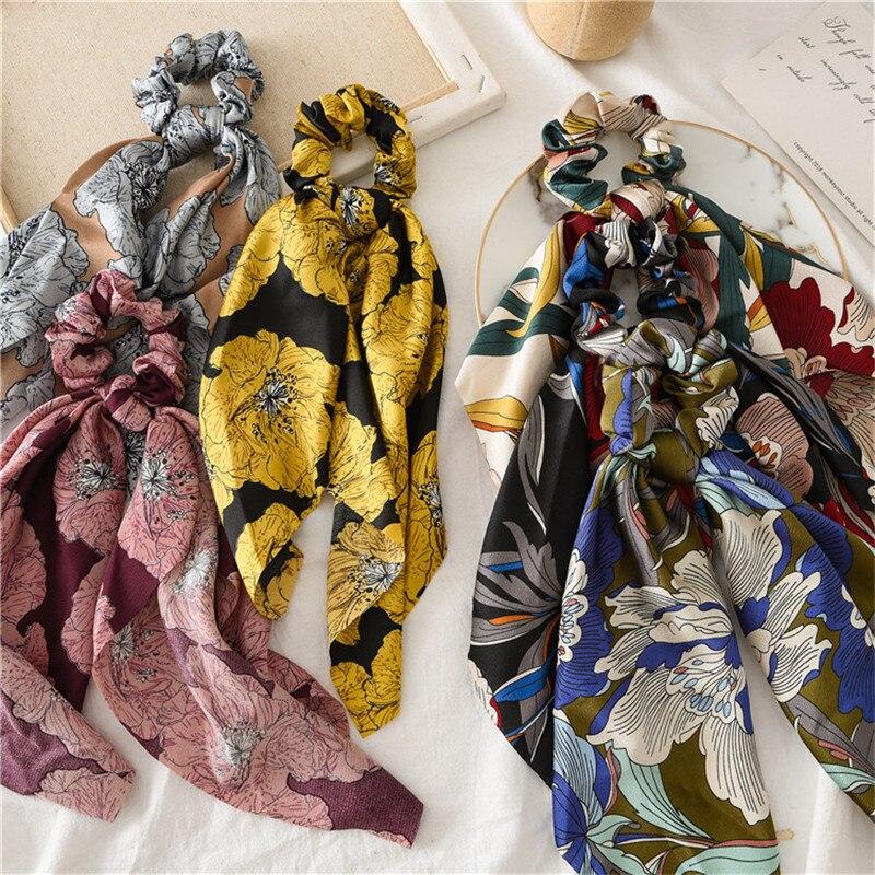 Accesorios Retro Para el cabello con flores grandes de primavera y verano, diadema con coleta y coleta de hojas pequeñas, tocado para mujer, coleta para el pelo salvaje