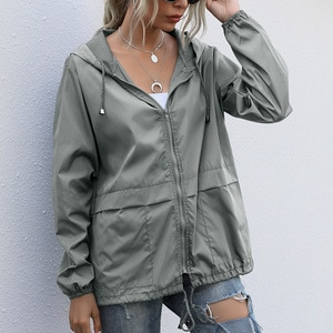 Waterproof Hooded Zip Up Outerwear Female Lightweight Sports Hiking Waterproof Jacket Quick-drying Breathable Trench Coat Jacket