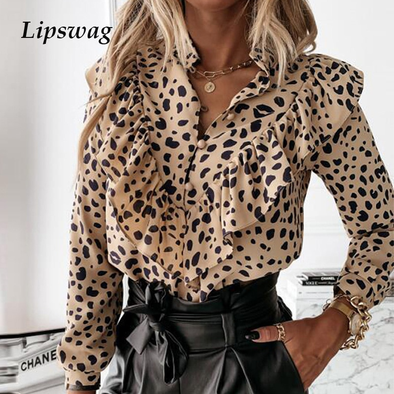 Casual Leopard Dot Print Ruffle Blouse Shirt Autumn Winter Long Sleeve Women Shirts Elegant Office Lady V-Neck Button Tops Blusa