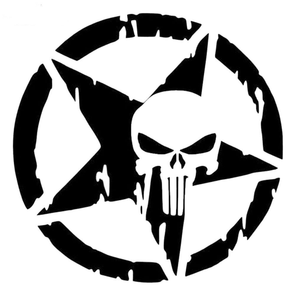 DAWASARU pentagrama The Punisher en forma de calavera para coche calcomanías de vinilo adhesivo accesorios de motocicleta arte coche pegatina para ventana trasera decoración 15*15CM
