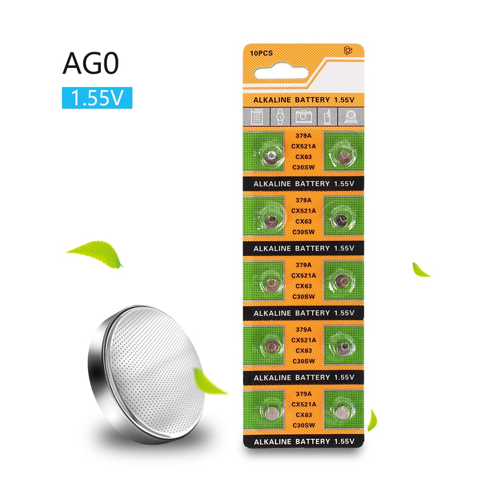 AliExpress - 10pcs AG0  Button Batteries SR521SW D379 Cell Coin Alkaline Battery 1.55V V379 SR63 For Watch Toys Remote