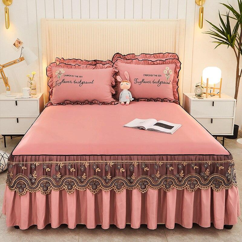 النمط الأوروبي السرير انتشار لينة الدانتيل تنورة نوم السرير الغطاء الواقي التطريز قابل للتعديل سرير ملكة غطاء السرير المنسوجات المنزلية
