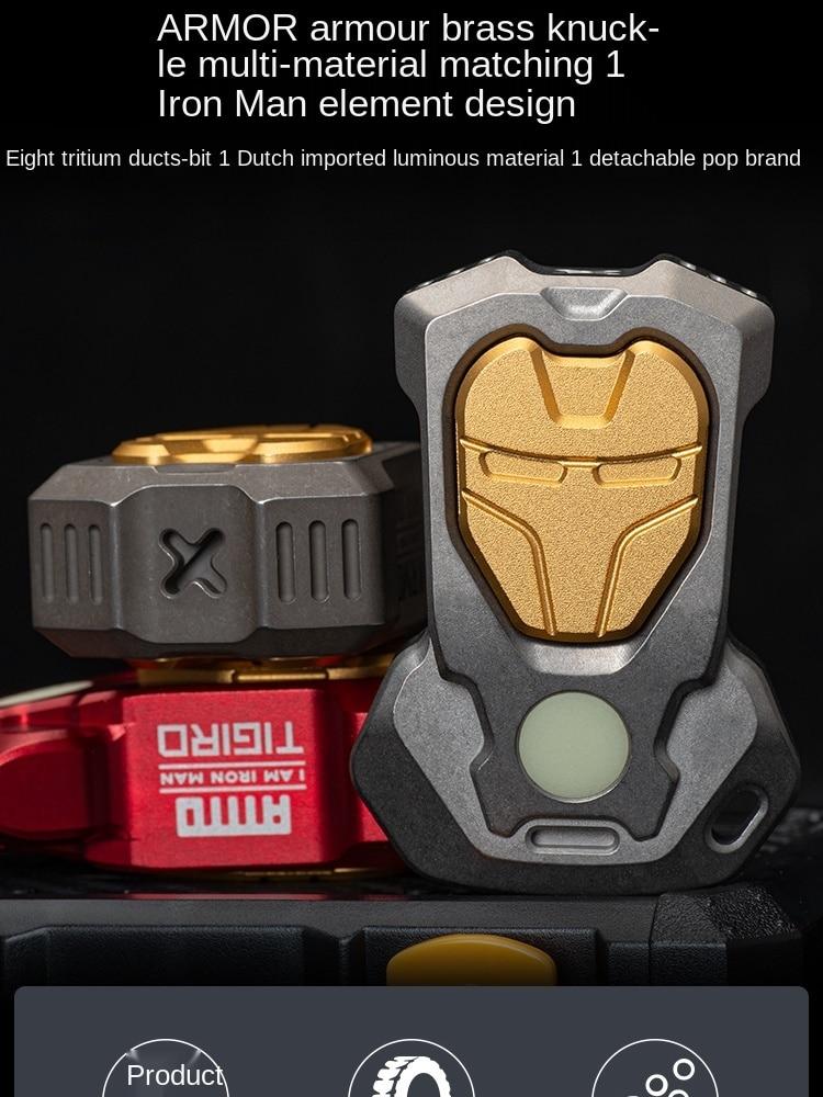 Equipment Iron Man Armor Multi-Functional EDC Titanium Alloy Outdoor Toy Single Finger Tiger Window Breaking Machine Pop Brand