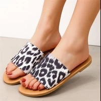 2021 new women shoes fashion casual summer refreshing faux suede leopard print open toe flat heel comfortable sandals 6kf280