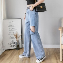 Woman Jeans High Waist Ripped Jeans 2019 Autumn Winter For Clothes Wide Leg Denim Clothing Blue Stre