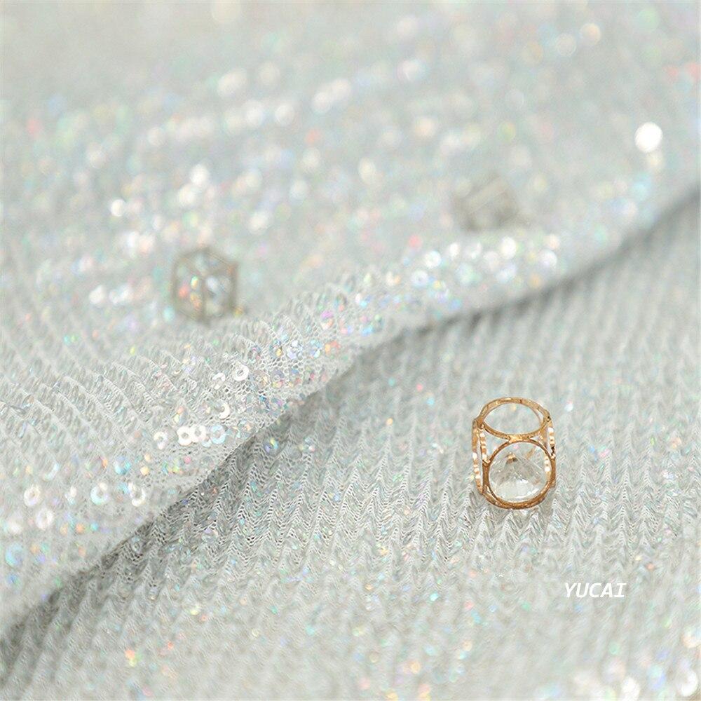 Tela de lentejuelas de color arcoíris de 50x140CM, hilo de red, hilo de seda, vestido de boda, tela de diseño DIY