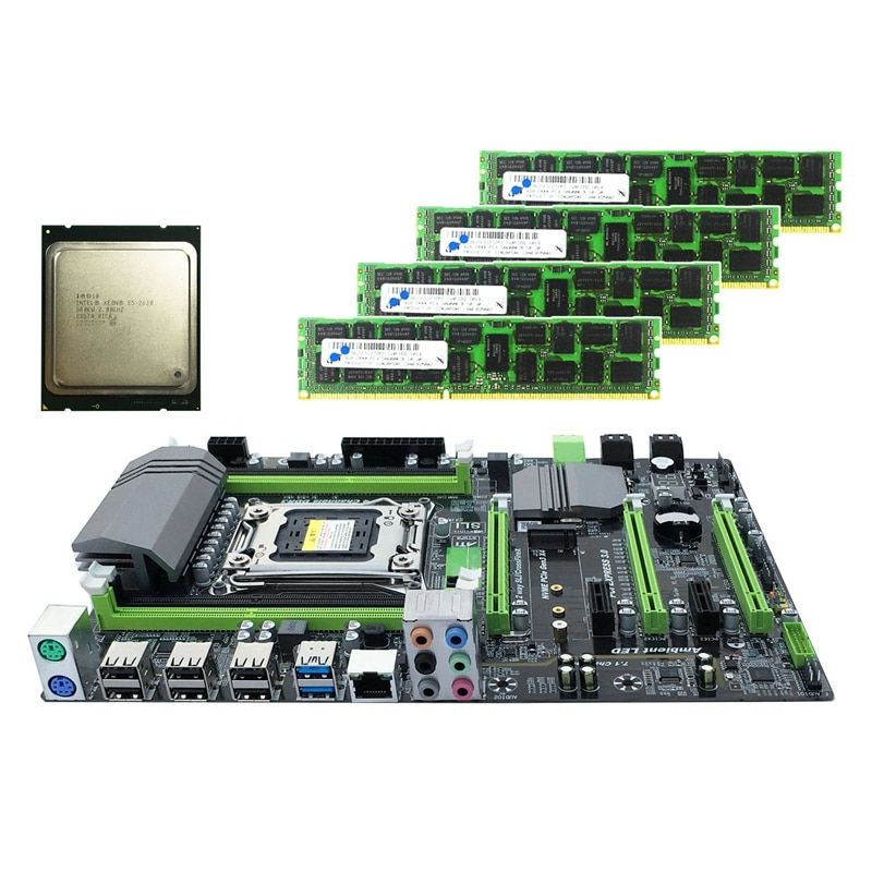 HOT-X79 placa base LGA2011 Combo con E5 2620 CPU 4-Ch 16GB (4X4 GB) de DDR3 RAM 1333Mhz NVME M.2 SSD ranura