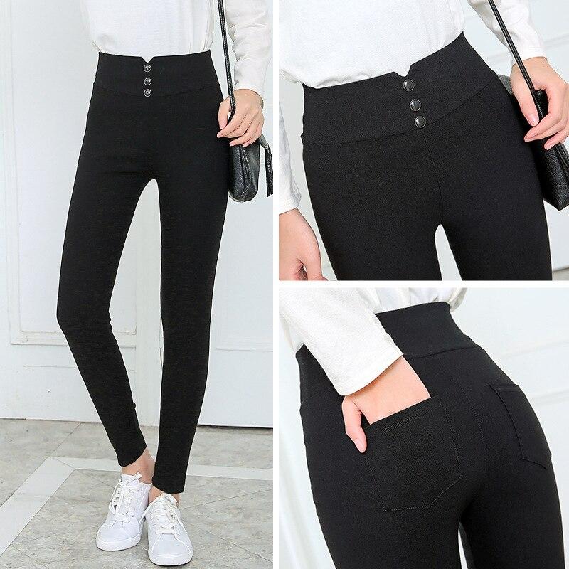 Женские черные брюки, брюки-карандаш, весна-осень 2018, брюки с карманами на пуговицах, женские облегающие джинсовые брюки, женские брюки с выс...