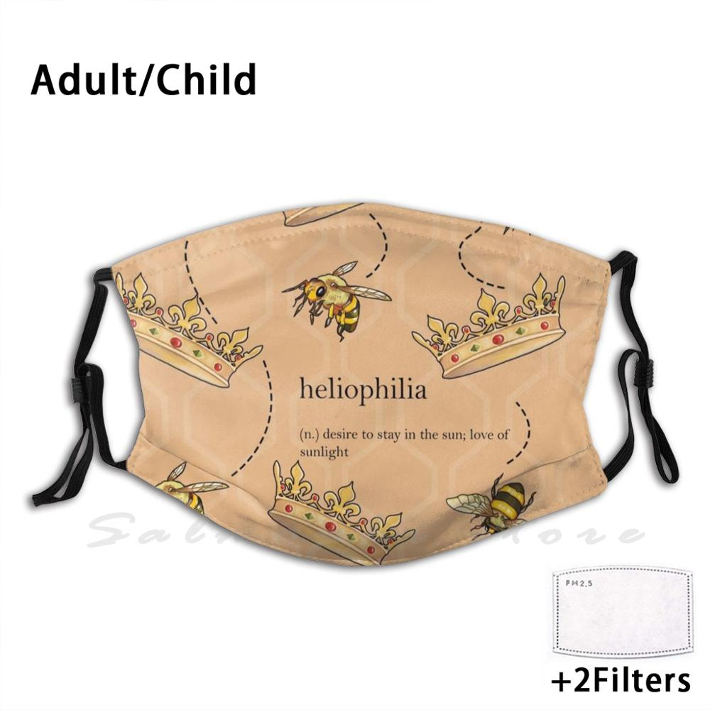 Heliophilia Adult Kids Anti Dust Filter DIY Mask Sun Sunlight Sunflower Bee Queen Queenbee Crown Reign King Yellow Hive Fly