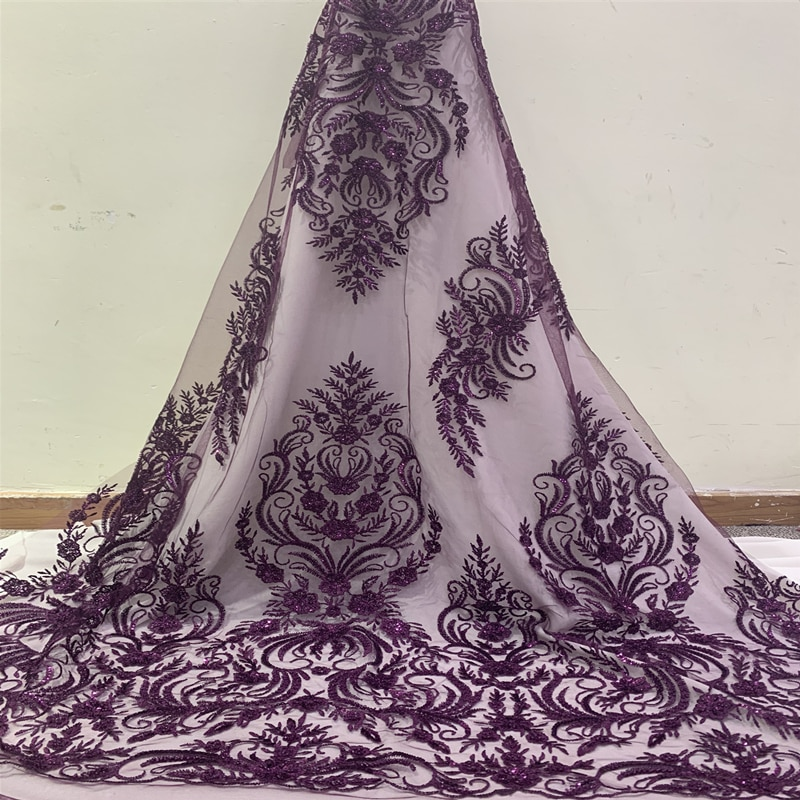 Latest African Lace Fabric 2019 High Quality Swiss Voile Lace Embroidery Mesh Beaded Nigerian Lace Fabrics Material For Sewing burgundy 2019 latest nigerian african tulle lace fabrics beaded high quality mesh lace fabric for sewing wedding dress material
