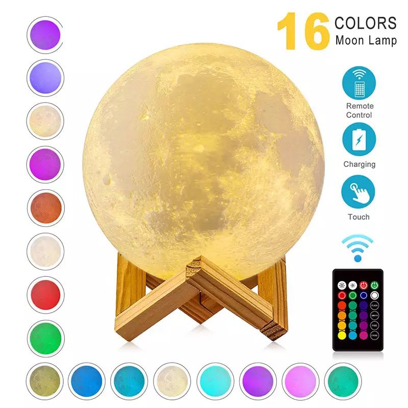 Moon lamp 3D print night light Rechargeable Color Change 3D Light Touch Moon Lamp Rechargeable 16 Co