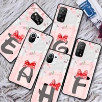 flower letter glass phone case for xiaomi redmi note 9s 8 9 8t 7 9c capa for mi 10t pro 9t 10 lite tempered cover