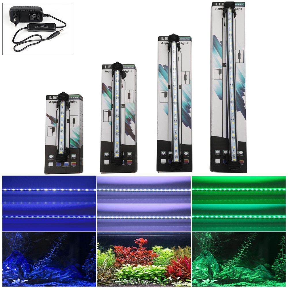 EU Plug Aquarium Fish Tank LED Light Blue/White 28/38/48CM Aquatic Bar Submersible Waterproof Clip Lamp Lighting