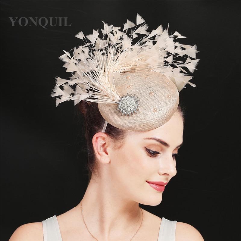 Bom 4 camadas sinamay pena feminino fascinadores chapéu vintage cocktail igreja headpiece elegante senhoras casamento fedora chapéus bandana