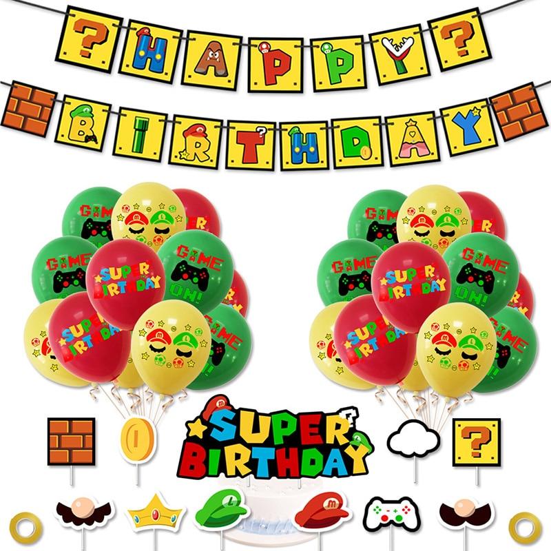 "Воздушные шары ""Супер Марио"" Mario Bros баннер торт Toppers Mario воздушные шары для дня рождения Baby Shower Lugis Mario латексные шары"