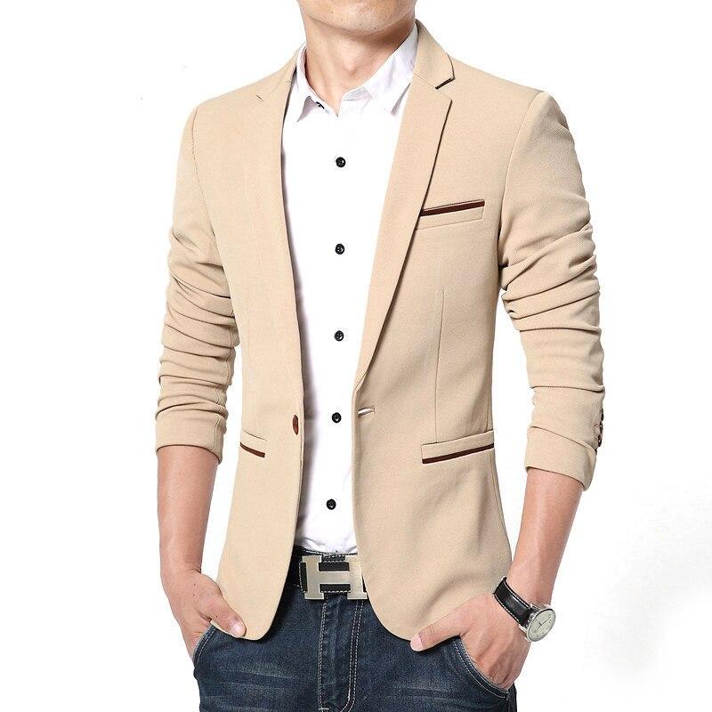 Spring Autumn Luxury Men Blazer 2021 Casual Business Cotton Slim Fit Suit jacket Male Plus Size M-5X