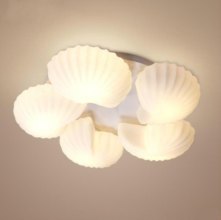 lampada do teto de vidro mobiliario moderno simples quarto sala estar disco conch lampada teto