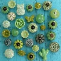 1pcs ceramic flower owl cactus shape knobs dresser cabinet pulls green color kitchen door handle knob furniture hardware wscrew