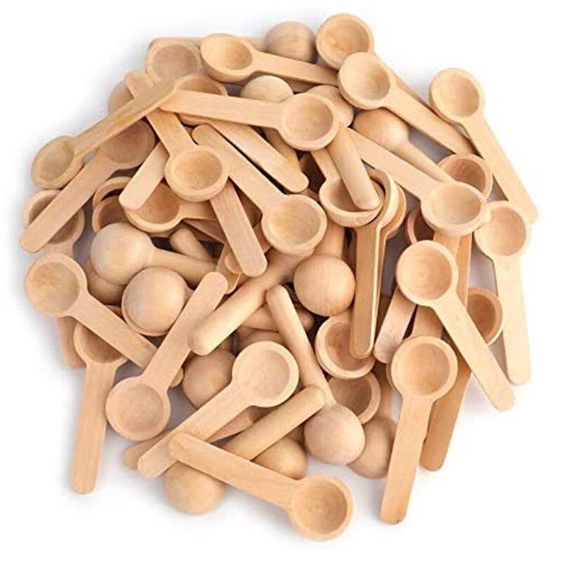 100 قطعة ملعقة خشبية صغيرة ، المنزل المطبخ ملعقة طبخ ملعقة ملح استحمام صغيرة ل برطمان توابل التوابل بهار العسل القهوة