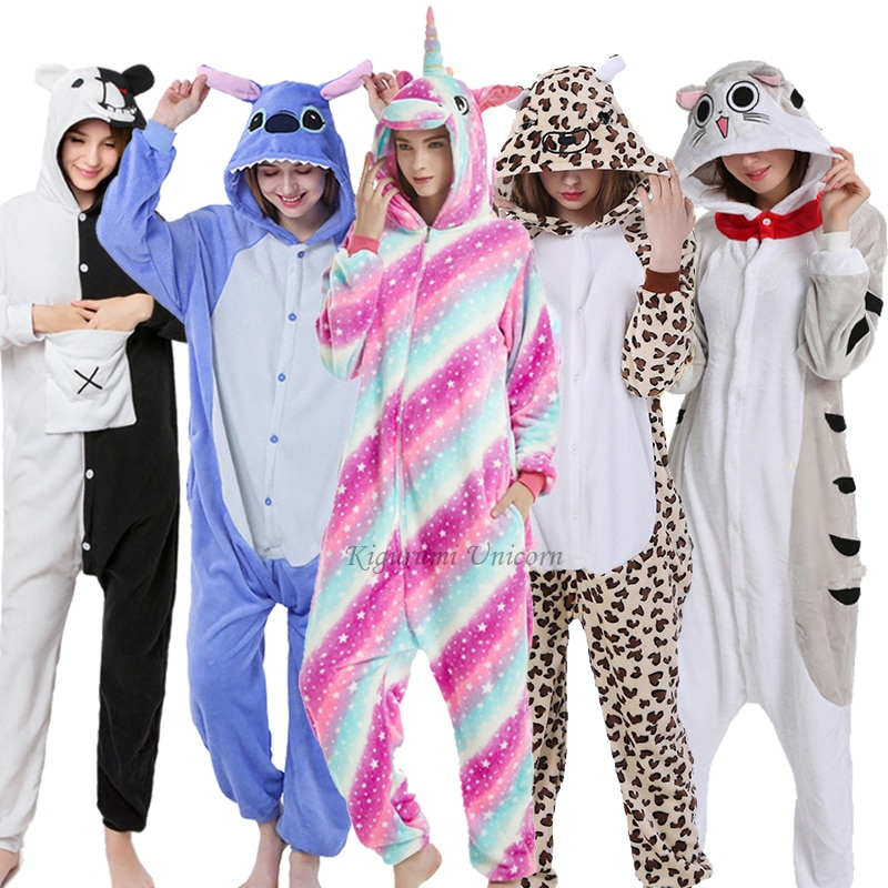 2020 invierno mujeres hombres Unisex adulto lindo dibujo Onesie Animal pijama Kigurumi unicornio gato oso franela camisón para dormir