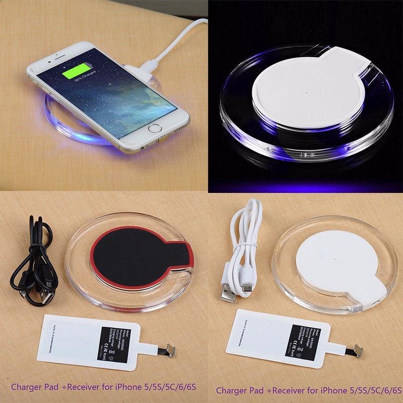 Qi sem fio chargeing transmissor + receptor qi para apple iphone 4 5 5S se 6s kit de almofada carregador sem fio para iphone 7 mais 8